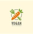vegan restaurant logo design emblem vector image vector image