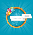white paper banner and orange circle with bright vector image vector image