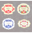 collection of vintage labels with flowers vector image