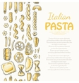 Vertical seamless pattern with Italian pasta vector image