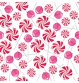 Seamless pattern with pink lollipops vector image