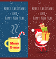 merry christmas and happy new year cup santa vector image