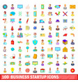 100 business startup icons set cartoon style vector image vector image