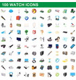 100 watch icons set cartoon style vector image vector image