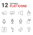 12 speech icons vector image vector image