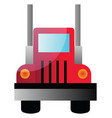 a front view a big red truck on white vector image vector image