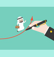 arab businessman run on graph which big hand vector image vector image