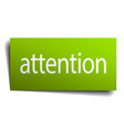 attention green paper sign on white background vector image vector image