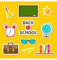 Back to school icon set Sticker collection Green vector image vector image