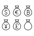 bags with money thin line icon vector image vector image