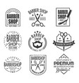 barbershop logo or sign with scissors and beard vector image vector image