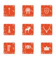 boyhood icons set grunge style vector image