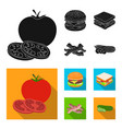 burger and ingredients black flat icons in set vector image