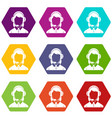 business woman with headset icon set color vector image vector image