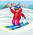 cartoon happy kid learning how to ski on holiday vector image vector image