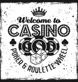 casino black emblem with chips and dice vector image vector image