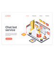 chat bot service isometric landing page vector image vector image