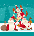 christmas design with cartoon santa claus and snow vector image vector image