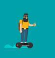 colorful flat hipster on gyroscooter vector image vector image