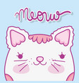 cute cat head with hair and whiskers vector image vector image