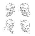 cute little mermaid babies set vector image