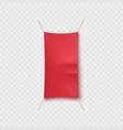 empty red textile advertising banner hanging vector image