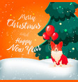 funny dog with ballons merry christmas vector image
