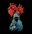 grim reaper holding heart balloon hand drawn style vector image vector image