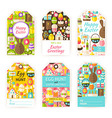 Happy Easter Gift Tag Template Flat Set vector image