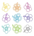 hibiscus flower outline icons vector image vector image