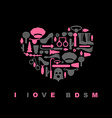 I love BDSM Sex toys in form of heart Emblem for vector image