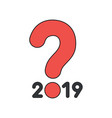 icon concept year 2019 with question mark vector image vector image