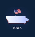 iowa state isometric map and usa natioanl flag 3d vector image vector image