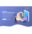 isometric social media marketing concept vector image vector image