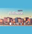 kids wearing monsters costumes walking town vector image vector image