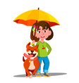 little girl walking a dog under umbrella in the vector image