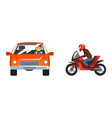 man driving car and riding bike speeding along the vector image