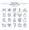 merry christmas and happy new year line icons vector image