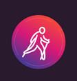 nordic walking line icon vector image vector image