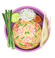 Pad Thai or Stir Fried Noodles with Prawns vector image vector image