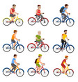 people on bicycles vector image vector image
