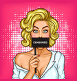 pop art blond girl covering her mouth with a sign vector image vector image