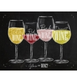 Poster types of wine chalk vector image vector image