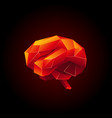 red low poly human brain on a black background vector image vector image