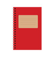 red notebook with brown paper sign vector image vector image
