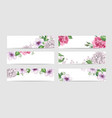rose floral banner template in watercolor style vector image