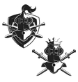 set emblems templates with swords and vector image