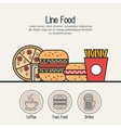 set food line isolated icons vector image