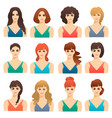 set of cute girls women with different hairstyles vector image