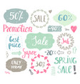 set of hand drawn vintage cute labels sale vector image vector image